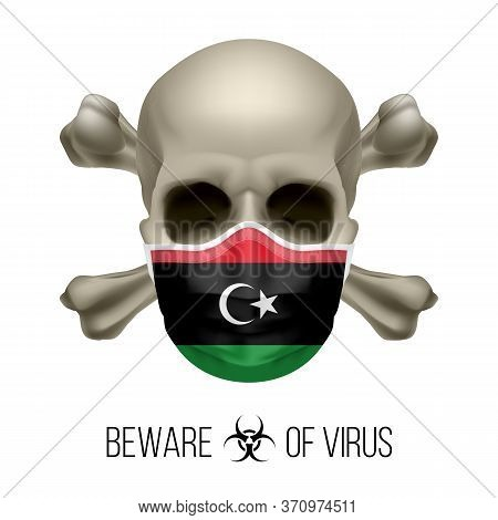 Human Skull With Crossbones And Surgical Mask In The Color Of National Flag Libya. Mask In Form Of T