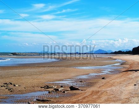 Landscape Of Beautiful Sea And Beach Background With Copy Space