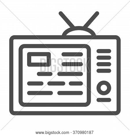 Tv Showing News On Screen Line Icon, Media Concept, Information On Tv Screen Sign On White Backgroun