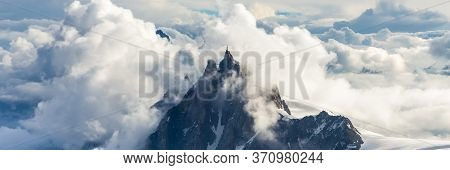Mont Blanc Mountain, White Mountain. View From Aiguille Du Midi Mount.