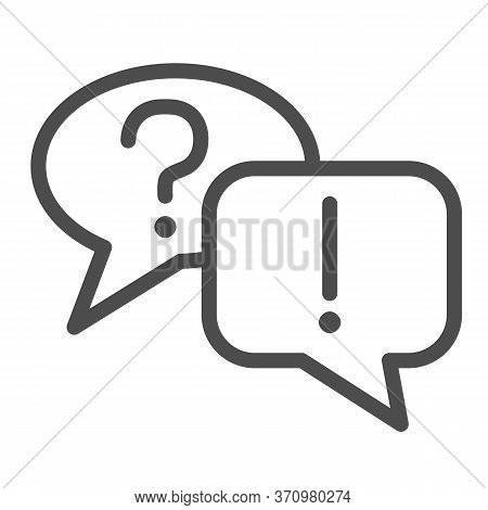 Question And Answer Bubbles Line Icon, Business Communication Concept, Question Mark And Exclamation