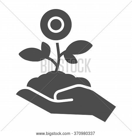 Flower Plant In Hand Solid Icon, Spring Concept, Flower In Soil On Human Hand Sign On White Backgrou