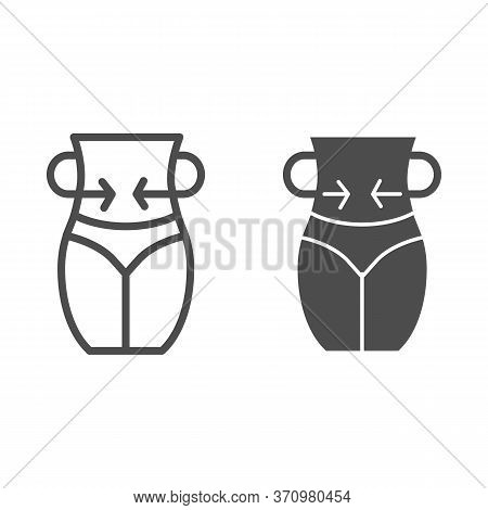 Girl Figure With Arrows Line And Solid Icon, Beauty Concept, Slim Women Figure Sign On White Backgro