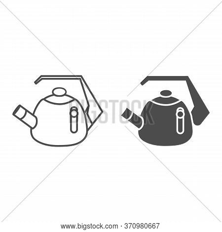 Whistling Kettle Line And Solid Icon, Kitchenware Concept, Classic Style Teapot Sign On White Backgr