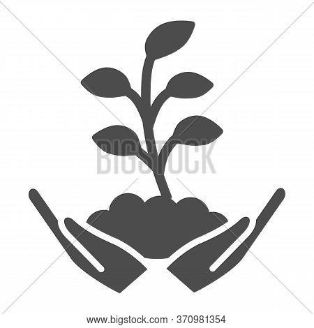 Hand Holds Small Plant With Many Leaves Solid Icon, Ecology Concept, Sprout Growing In Ground Sign O