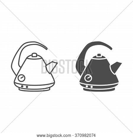 Electric Kettle Line And Solid Icon, Kitchen Accessory Concept, Teakettle In Classic Style Sign On W