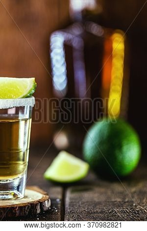 Tequila, Fiery Drink, Strong Alcohol Content. Image Of Bar And Restaurant, For Menu. International T