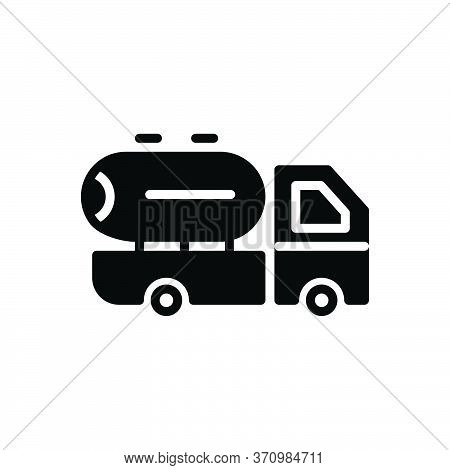 Black Solid Icon For Supplier Oil Milk Transport Vehicle Supply Delivery Service Truck