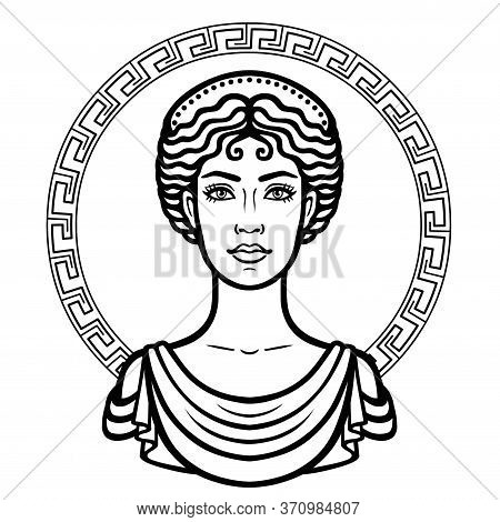 Linear Portrait Of The Young Greek Woman With A Traditional Hairstyle. Decorative Circle. Vector Ill