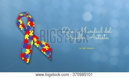 Illustration Related To Autism, Disease Written In Spanish With The Text World Autism Awareness Day