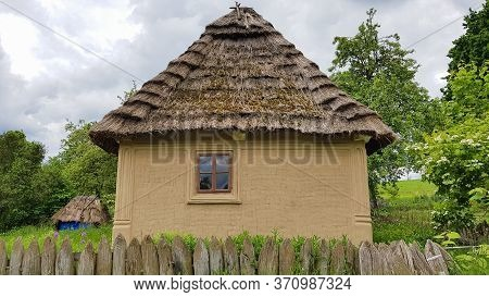 Ukraine, Kiev - June 11, 2020. The Old House Of Peasants In The Museum Pirogovo. National Museum Of