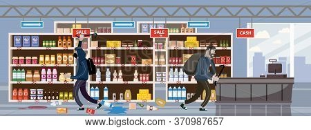 Supermarket Broken. Robbery Concept. Crime Scene Vandalism, Looting, Looters With Crowbar And Bag, C