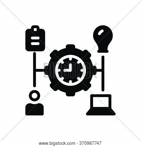 Black Solid Icon For Manage Transact Operate Organize Organise