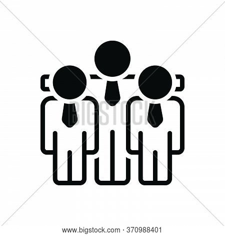 Black Solid Icon For Amigos People Group Team Elder Younger Junior