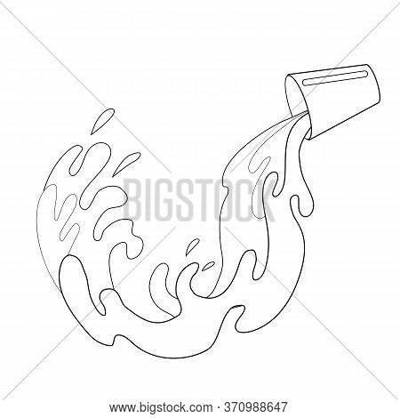 Outline Illustration Of Pouring Milk From A Cup. Contour Water Flow. Black And White Image Of Fluid.