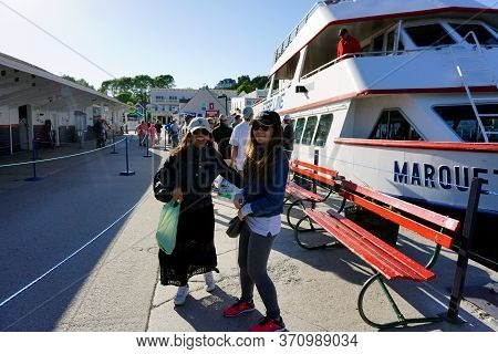 Mackinac Island, Michigan / United States - June 11, 2018: Passengers Line Up On The Mackinac Island