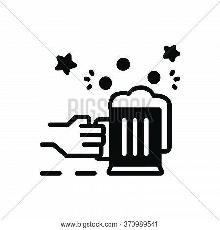 Black Solid Icon For Allegro Enthusiastic Raptured Blissful Cheers Celebration