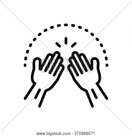 Black Solid Icon For Amen Hands Pray  Implore Appeal Cassation Petition