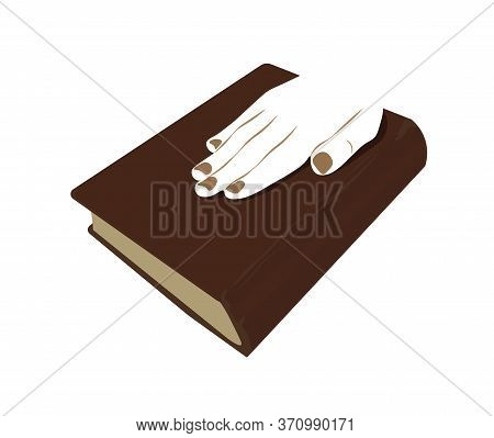 Vector Stock Illustration Of An Oath On The Bible. Presidential Inauguration. Banner For Elections.