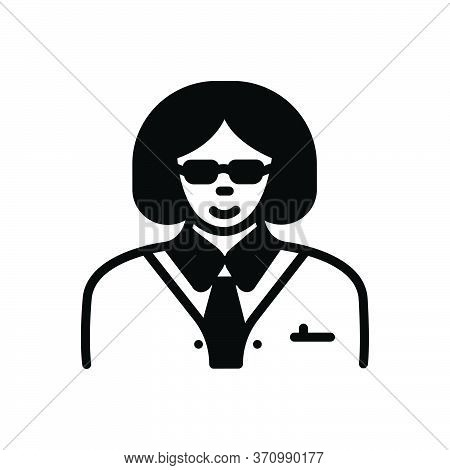 Black Solid Icon For Manager Steward Director Warden Women Female