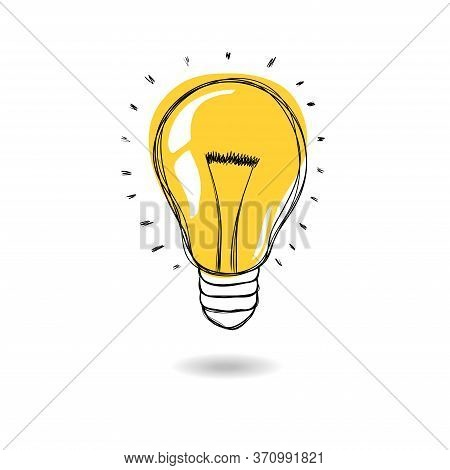 Light Bulb With Rays Shine. Cartoon Style. Flat Style. Hand Drawn Style. Doodle Style. Symbol Of Cre