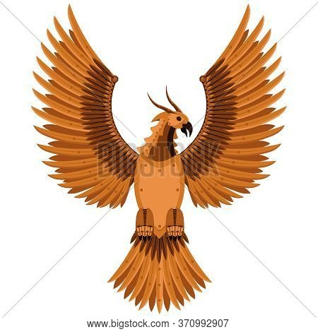 Fantastic Phoenix Bird Of Prey In Steam Punk Style. Vector Illustration.