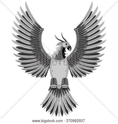 Fantastic Phoenix Bird Of Prey In The Style Of Robotics. Vector Illustration.
