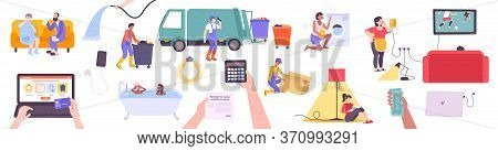 Utility Services Set With Flat Icons Of Community Facilities Infrastructure Elements Human Character