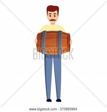 Man With Small Winery Barrel Icon. Cartoon Of Man With Small Winery Barrel Vector Icon For Web Desig