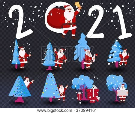 Santa Claus In A Fabulous Winter Lemu On A Transparent Background. Vector Set Design Elements Funny