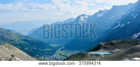 Magnificent Panoramic View Of Hillside Valley In Matterhorn Or Monte Cervino Mountains. Fantastic Sc