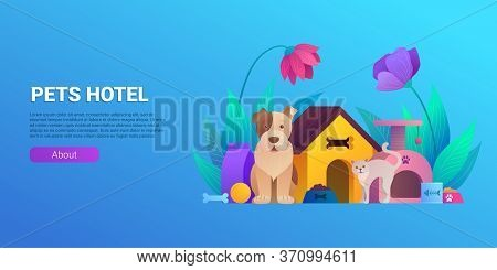 Pets Hotel Cartoon Horizontal Flyer Design. Welcoming Place For Dogs And Cats Banner. Comfortable Ac