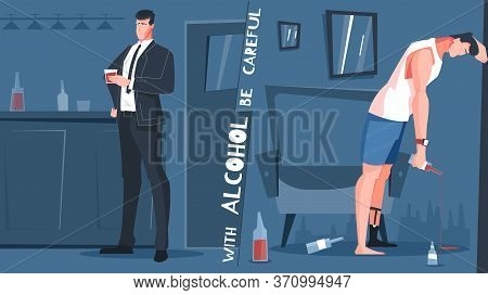 Alcohol Addiction Flat Composition With Alcohol Be Careful And Before And After Situations Vector Il