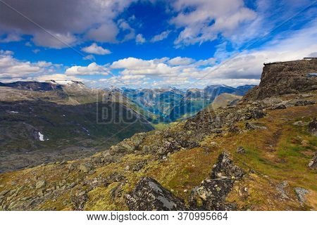 Panoramic Mountains Landscape With Geirangerfjord From Dalsnibba Area. Geiranger Skywalk Viewing Pla