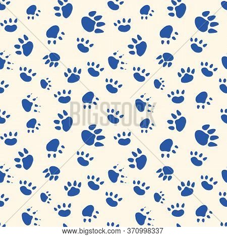 Cat And Dog Paws Seamless Pattern For Background Of Vet Website Or Animal Shelter Promotional Materi