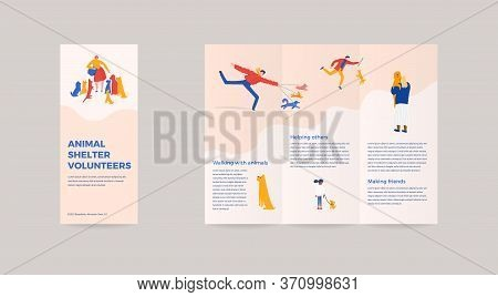 3 Fold Bruchure For Animal Shelter Volunteer Campaign. Vector Illustration Layout Template With Char