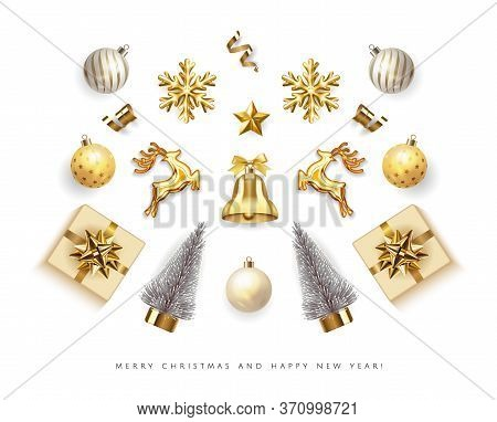 Set Realistic Golden Christmas Objects Isolated In White Background Xmas Card. Merry Christmas And H
