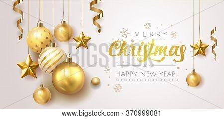 Golden Christmas Balls Light White Background. Festive Xmas Decoration Gold Glass Christmas Balls An