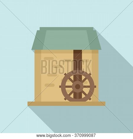 Water Mill Wheel Icon. Flat Illustration Of Water Mill Wheel Vector Icon For Web Design