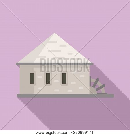 Building Water Mill Icon. Flat Illustration Of Building Water Mill Vector Icon For Web Design