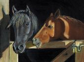 Oil Pastel painting of two horses standing affectionately at the opening of the stall gate. poster
