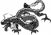 Illustration of black Japanese dragon on white background poster