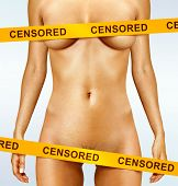 beautiful body of woman covered with censorship tapes poster