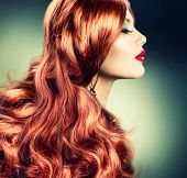 Red Hair.Fashion Red Haired Girl Portrait.Hair Extension poster