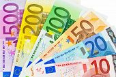 euro money banknotes of the european union. a fan made of euro money isolated against white background. poster