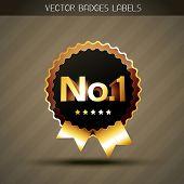 stylish no. 1 golden vector label badge poster