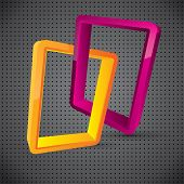 Abstract logo style composition with glossy linked design elements poster