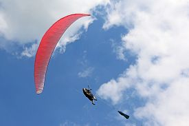 Paraglider Being Towed On A Winch Launch