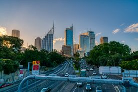 Sydney, Nsw, Australia - November 14, 2017: M1 Highway With Sydney City Skyline At Sunset In The Bac