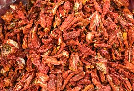 Pile Of Sun Dried Tomato In The Market - Close Up